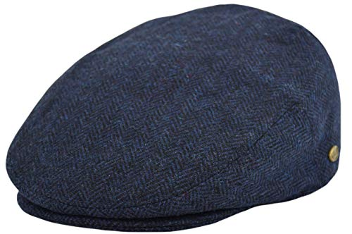 Classic Men's Flat Hat Wool Newsboy Herringbone Tweed Driving Cap (IV1935-Navy, Medium)