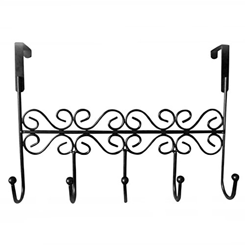 Rbenxia Over the Door Hook Rack Metal Hanger 5 Hooks Black for (Black Metal Hanging)