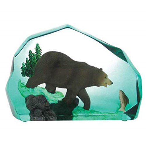 WL SS-WL-14704 Fishing Grizzly Clear Resin Paper Weight Collectible Figurine, 4""