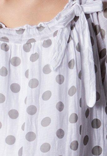 avec blancs Gris Blouse plusieurs soie pour coloris Blanc CASPAR en points BLU001 femme lgre 7dYqwwFCx8