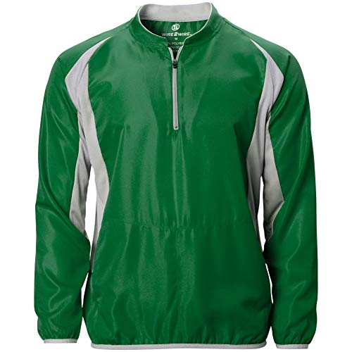 Wire2wire Mens Performance Long Sleeve Cage Jacket Green/Grey 2XL Batting Cage Long Sleeve Jacket