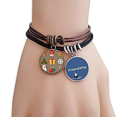 YMNW Merry Christmas Colorful Gifts Illustration Friendship Bracelet Leather Rope Wristband Couple Set Estimated Price -