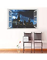 3D Window Castle Wall Sticker Decal Harry Potter PVC Wall Decals Poster Mural Art Home Decor