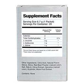 Natural BCAA Powder. Great Tasting Raspberry Lemonade Flavor. 20 Single Serving Stick Packs. Sweetened with Stevia, Erythritol, and Monk Fruit. Made by Women for Women. Free Recipe Guide Included.