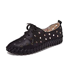 Women's Sandals New 2019 Loafers & Slip-Ons Soft Bottom Leather Mother Shoes Round Head Flat Hole Shoes Black Gray Brown,Black,35