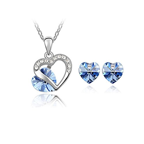 The Starry Night Love Promise Hollow Silver Plated Light Blue Crystal Heart Necklace and Earring Suit