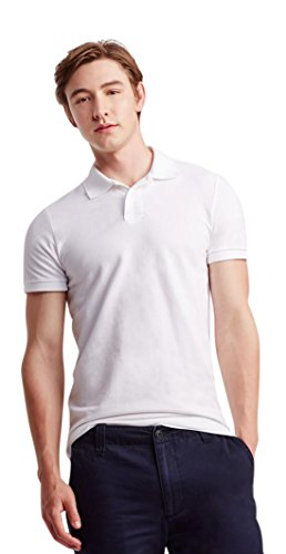 3771348d Aeropostale Men's Solid Uniform Piqu Polo Shirt L Bleach