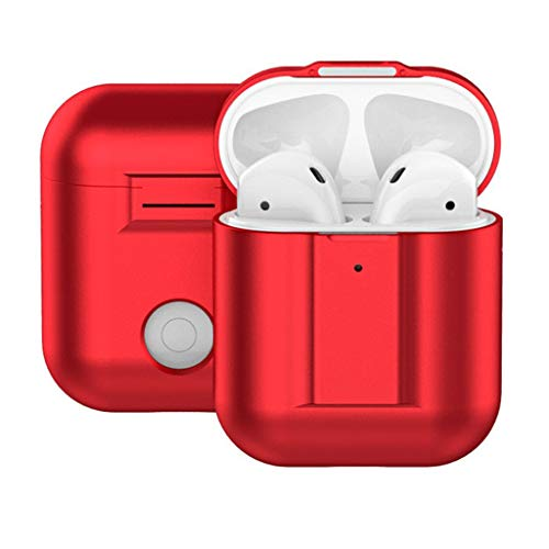 Libison Earbud Cases, Earphone Carrying Case Metallic Magnetic Attraction Storage Bags for Airpods Earphones 2 Bluetooth Headset Wall Charger USB Adapter Cable Protective Pocket Case Cover (Red)