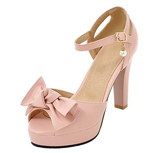 YE Damen Knöchelriemchen Peep Toe plateau sandalen mit Schleife und 10cm Blockabsatz Süß Schuhe Rosa