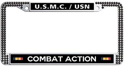 amazon com u s m c usn combat action ribbon car license plate frame holder black rhinestones us marines corps and navy auto license tag holder automotive u s m c usn combat action ribbon car