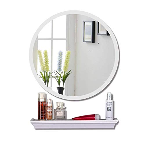 KOSGK Modern Simple Bathroom Mirror with Shelf Wall-Mounted Makeup Mirror Round Toilet -