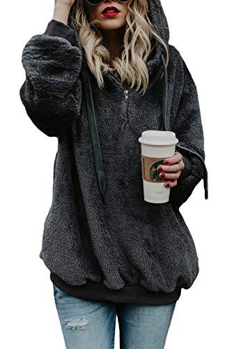 (COCOLEGGINGS Womens Oversized Sherpa Hoodie 1/4 Zip Sweatshirt Dark Grey M)
