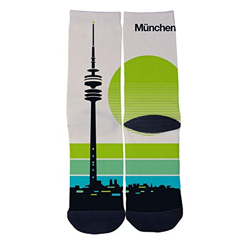 Mens Womens Casual Munchen Modern Vintage Design Socks Crazy Custom Socks Creative Personality Crew Socks Black