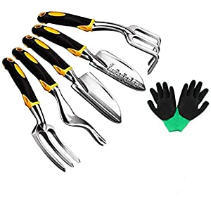 Garden Tools Set – 6 Piece Gardening Hand Tool Set (Weeder, Trowel, Transplanted, Cultivator& Weeding Fork) with Garden…
