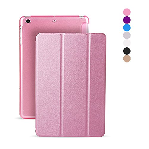 iPad Mini Case for Mini 123 Pink Ultra Slim Lightweight Smart-Shell Stand Cover Auto Wake / Sleep Case with Silk Pattern Cover for iPad Mini Mini 3/2/1(with Auto Wake / Sleep) (Pink) (Pink Ipad Mini Case compare prices)