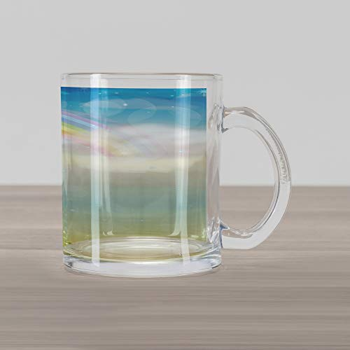 Ambesonne Cloud Glass Mug, Semi Circle Soft Colored Rainbow Stripes and Tiny Stars in The Multi Layered Sky, Printed Clear Glass Coffee Mug Cup for Beverages Water Tea Drinks, Multicolor ()
