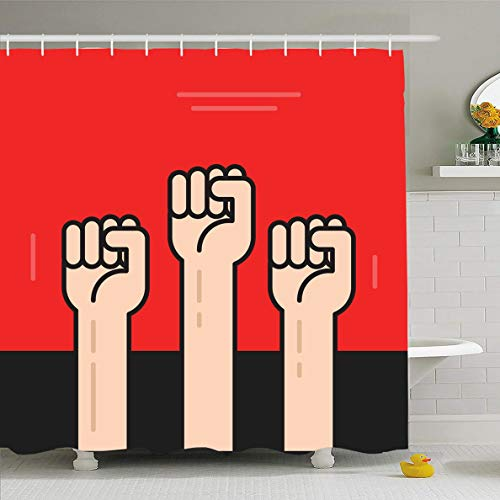 Ahawoso Shower Curtain 72x78 Inches Revolt Red Flat Hands Fists Raised Revolution Anger Propaganda Punch Power Russian Achievement Design Waterproof Polyester Fabric Set with Hooks