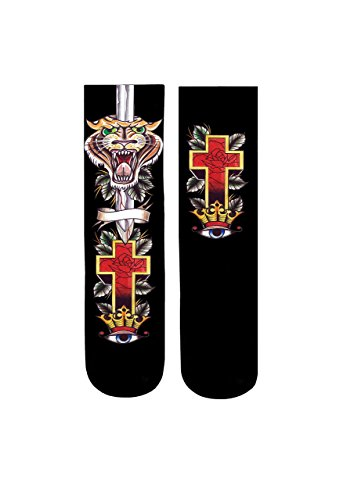 Custom Elite Socks Tattoo Youth Crew Style Tiger Tattoo Japan Design Stance for Art Collection Gold (Ganster Suit)