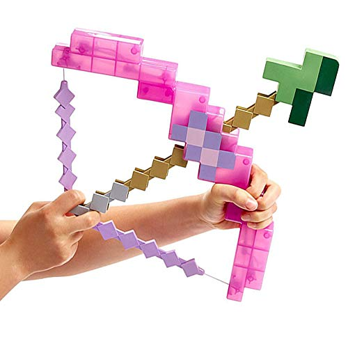 WENHSIN Toy Pixel Mosaic Bow and Arrow Set Plastic Assembled for Kids Birthday Party Pixel Miner Gaming not Minecraft (Pink) by WENHSIN