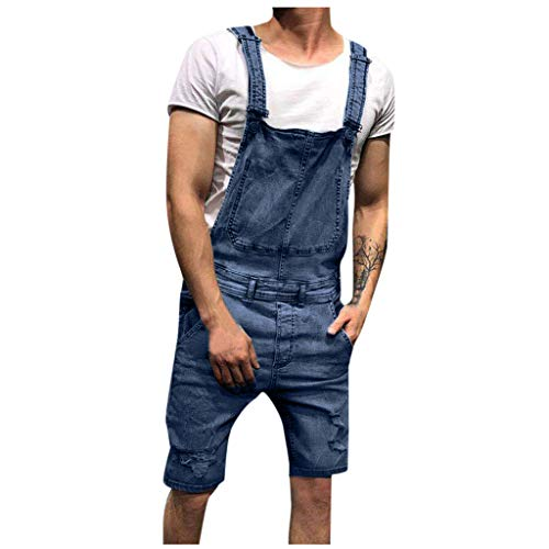 Sunyastor Mens Bib Overall Shorts Denim Casual Loose Fit Jumpsuit Walkshort Wash Broken Pocket Button Jeans Rompers
