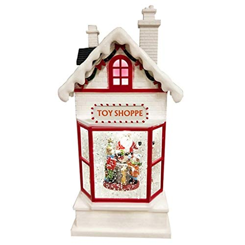 Lightahead Santa's Toy Shoppe Musical Lighted House,10 Inch Christmas Santa House with Swirling Glitter and 8 Melody's Playing B (Glitter Houses)
