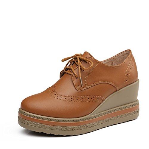 Zapatos de suela gruesa plataforma de Inglaterra en mujer de primavera/Zapatos planos de cuero Brock/Zapatos de cuñas/Zapatos de mujer C