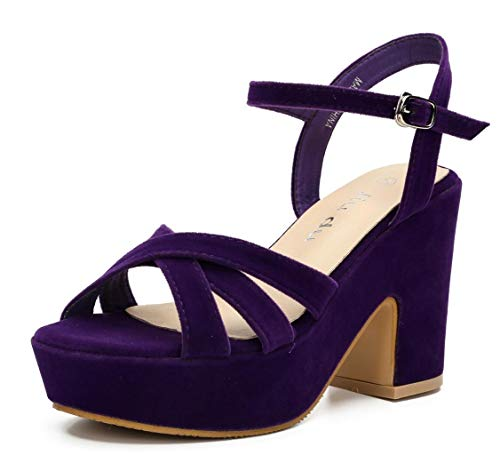 Womens Open Toe Ankle Strap Wedge Sandal Chunky Block High Heel Platform Sandals Purple Velveteen Size US10 EU43