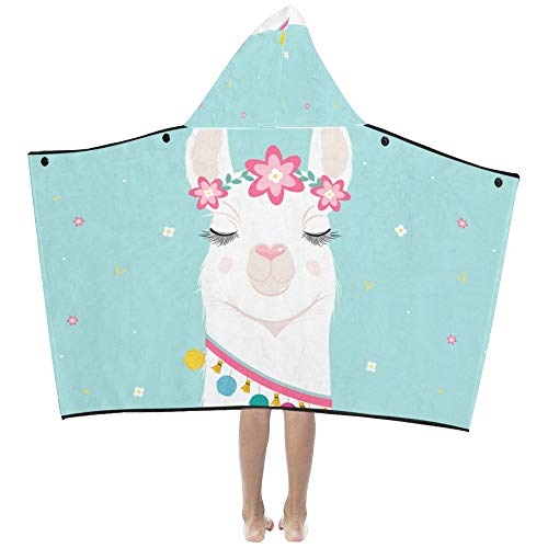 Cartoon Alpaca Llama Soft Warm Cotton Blended Kids Dress Up Hooded Wearable Blanket Bath Towels Throw Wrap for Toddlers Child Girl Boy Size Home Travel Picnic Sleep Gift