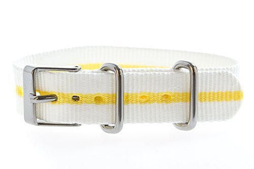 Timex T7B970 Weekender 16mm White/Yellow Nylon Slip-Thru Watch Strap (Timex Watch 16mm Weekender Strap)