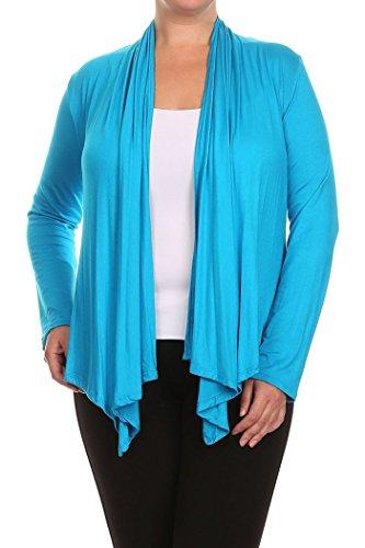 fabriqu¨¦ tats Aux Femmes Bleu Solid Longues Cardigan Draped Neck Plus 3x Front unis Manches zzqxnvO8
