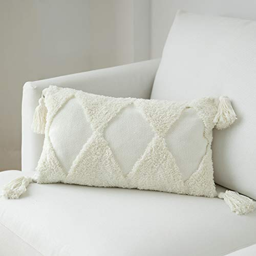 blue page Cotton Woven Tufted Throw Pillow Cover with Big Tassels, Designer New Lumbar Decorative Pillow Covers 12X20 inch, Cute Rectangle Pillow Cases for Couch Sofa Bedroom Living Room, Cream