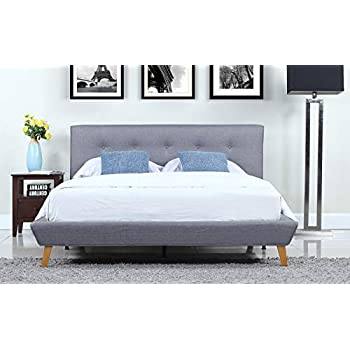 Divano Roma Furniture Mid-Century Grey Linen Low Profile Platform Bed Frame with Tufted Headboard Design (Full)