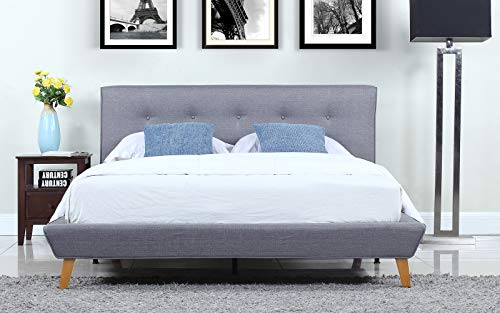 Mid-Century Grey Linen Low Profile Platform Bed Frame with Tufted Headboard Design (Queen)