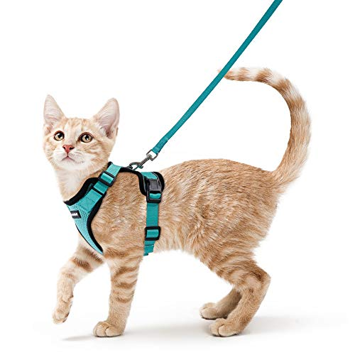 rabbitgoo Cat Harness and Leash for Walking, Escape Proof Soft Adjustable Vest Harnesses for Medium Large Cats, Easy Control Breathable Pet Safety Jacket with Reflective Strips & 1 Metal Leash Ring
