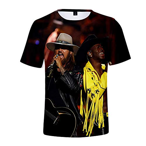 Hip Hop Style Lil NAS X feat. Billy Ray Cyrus Summer Short Sleeve T-Shirt for Teens (Billy Ray Cyrus T-shirt)