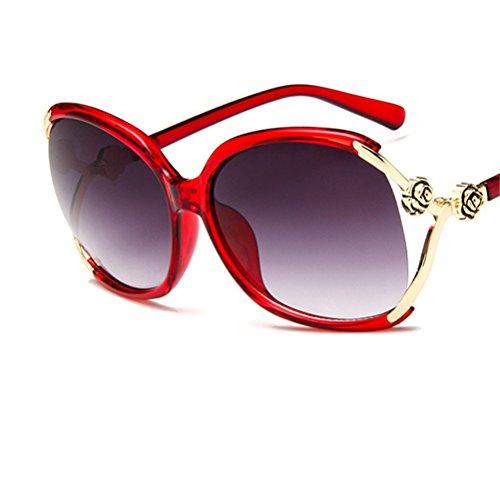 de Maibar UV viaje bordeadas Mujeres Protección Rojo Vino de aire Gafas moda de ocasionales libre al metal verano de sol de AXqwZA1