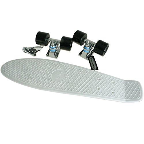"""Blank Vinyl Plastic Cruiser Skateboard Complete Penny Size 22"""" Stereo-Sonic Tail White/Black"""