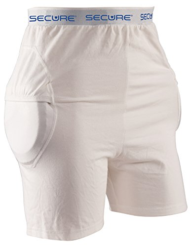 Protector Hip (Secure SHP-RP-M Unisex Soft Hip Protector with Removable Hip & Tailbone Pads, White - Elderly Fall Injury Prevention Aid (Medium))