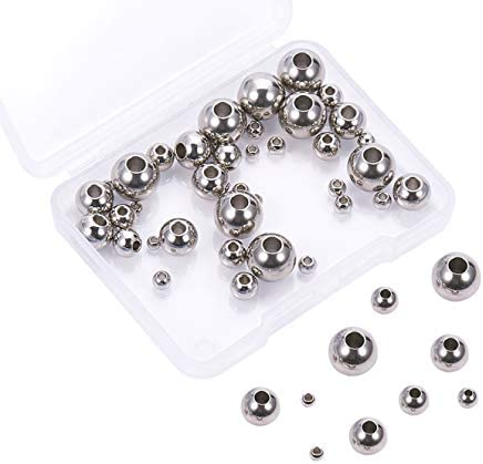 Airssory 50 Pcs 3//4//6//8//10mm Stainless Steel Spacer Round Loose Beads Rondelle Shape in Bulk for Jewelry Making and Craftings Packed with Box
