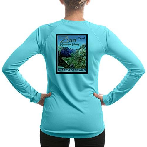 - Zion National Park Women's UPF 50+ Long Sleeve T-shirt Large Water Blue