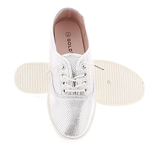 Gold Toe Womens Classic Lace Up Low Top Fashion Walking Sneaker Casual Sporty Athletic Style Street Shoe Silver Metallic t6yxN
