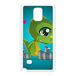 Kawaii Cutezilla White Hard Plastic Case for Galaxy Note 4 by DevilleArt + FREE Crystal Clear Screen Protector