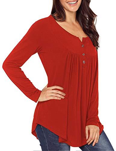 (Womens Long Sleeve Button Down Tunic Tops Irregualr Hem Shirt Gathered)
