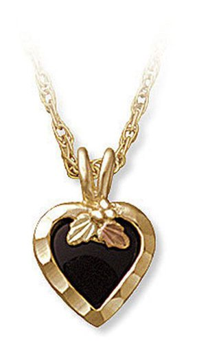 Landstroms 10k Black Hills Gold Necklace with Onyx Heart Pendant, 18