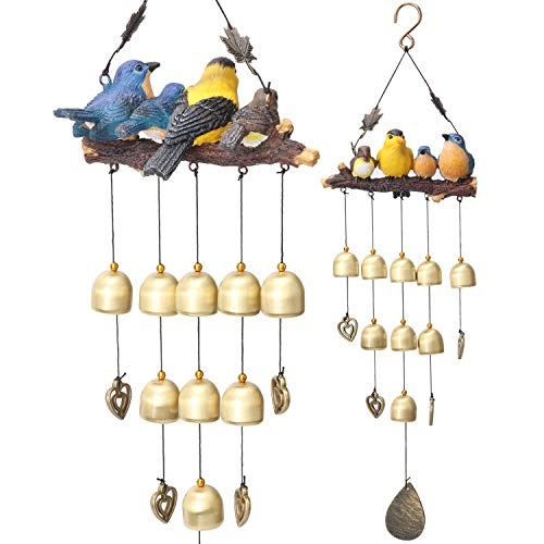 YLYYCC Wind Chimes-Colored Bird Wind Chime- Comes with 9 Pure Copper Bells, 2 Metal Maple Leaves and 2 Heart Pendants-Suitable for Patio, Bedroom, Living Room, Balcony Decoration-Children's Gift