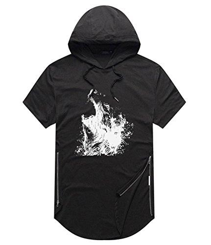 (HLZSLt Wolf Short-Sleeved Side Zip Sweater Hoodie T-Shirt For Mens Black M)