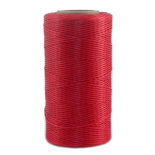 Leather Sewing Thread Stitching String - DIY Craft Flat Waxed Cord 284 Yards (Red)