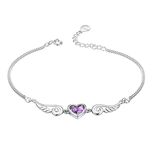 (Sterling Silver Plated Amethyst Heart Angel Wings Guard Charm Box chain Cuff Bracelet,adjustable Lobster clasp)
