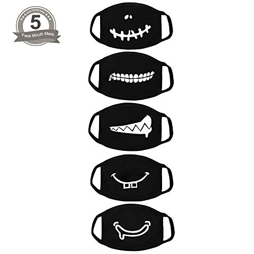 Fomei 5 Pack Teeth Pattern Cute Unisex Cotton Blend Anti Dust Face Mouth Mask Black for Man Woman