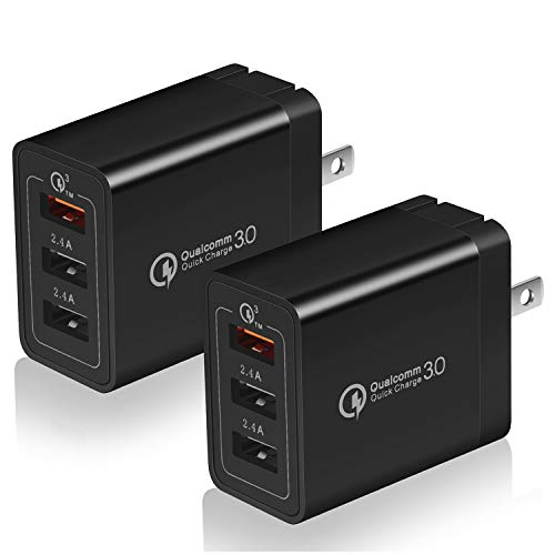 Quick Charge 3.0 USB Wall Charger, USINFLY 2-Pack 30W 3 Ports (QC3.0X1+2.4AX2) Adapter Fast Charging Adaptive Plug Compatible  with Samsung Galaxy S10 S9 S8 Plus S7 S6 Edge Note 9, LG, Kindle, Tablet